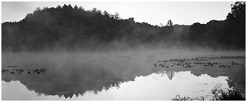 Fog rising of lake at dawn. Cuyahoga Valley National Park (Panoramic black and white)