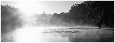 Sun rising above misty lake at dawn. Cuyahoga Valley National Park (Panoramic black and white)