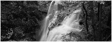 Brandywine falls flowing in autumn forest. Cuyahoga Valley National Park (Panoramic black and white)