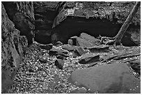 Ice box cave in a cliff at The Ledges. Cuyahoga Valley National Park, Ohio, USA. (black and white)