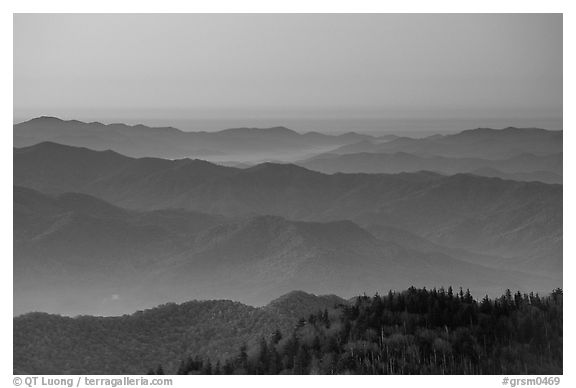 Blue ridges and orange dawn glow from Clingman's dome, North Carolina. Great Smoky Mountains National Park (black and white)
