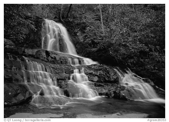 Laurel Falls, Tennessee. Great Smoky Mountains National Park (black and white)
