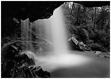 Grotto falls seen from under overhang, Tennessee. Great Smoky Mountains National Park ( black and white)