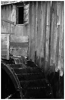 Water flowing on the wheel of mill, Cades Cove, Tennessee. Great Smoky Mountains National Park, USA. (black and white)