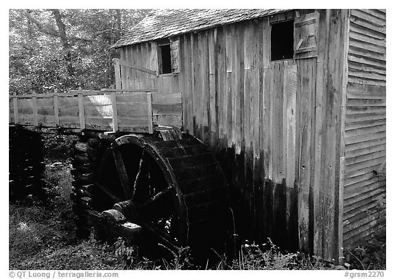 Water-powered gristmill, Cades Cove, Tennessee. Great Smoky Mountains National Park (black and white)
