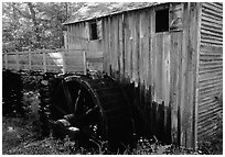 Water-powered gristmill, Cades Cove, Tennessee. Great Smoky Mountains National Park, USA. (black and white)
