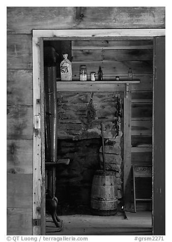 Room seen through doorway inside cabin, Cades Cove, Tennessee. Great Smoky Mountains National Park, USA.