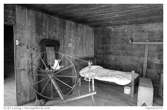 Cabin interior with rural historic furnishings, Cades Cove, Tennessee. Great Smoky Mountains National Park (black and white)