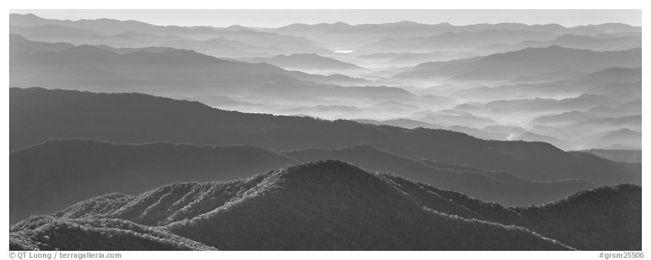 Hazy Appalachian mountaintop ridges. Great Smoky Mountains National Park (black and white)
