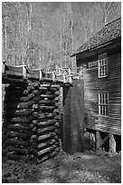 Millrace and Mingus grist mill, North Carolina. Great Smoky Mountains National Park, USA. (black and white)