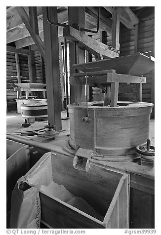 Turbine-powered grist stones inside Mingus Mill, North Carolina. Great Smoky Mountains National Park (black and white)