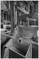 Turbine-powered grist stones inside Mingus Mill, North Carolina. Great Smoky Mountains National Park, USA. (black and white)