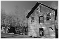 Mingus Mill and mill workers, North Carolina. Great Smoky Mountains National Park, USA. (black and white)