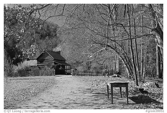 Davis House, Mountain Farm Museum, North Carolina. Great Smoky Mountains National Park (black and white)