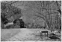 Davis House, Mountain Farm Museum, North Carolina. Great Smoky Mountains National Park, USA. (black and white)
