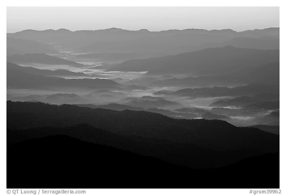 Ridges and valley fog seen from Clingman Dome, sunrise, North Carolina. Great Smoky Mountains National Park (black and white)