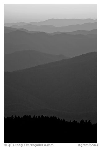 Mountain ridges seen seen from Clingman Dome and sunrise glow, North Carolina. Great Smoky Mountains National Park (black and white)