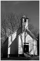 Missionary baptist church, Cades Cove, Tennessee. Great Smoky Mountains National Park, USA. (black and white)