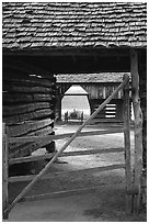 Barn seen through another barn, Cades Cove, Tennessee. Great Smoky Mountains National Park, USA. (black and white)
