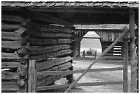 Historic barns, Cades Cove, Tennessee. Great Smoky Mountains National Park, USA. (black and white)