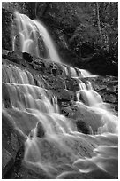 Laurel Falls, Tennessee. Great Smoky Mountains National Park, USA. (black and white)