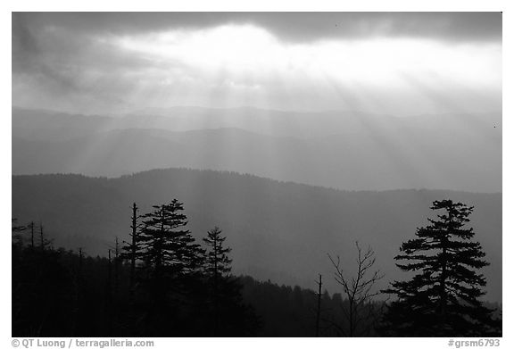 Sunrays over ridges, early morning, North Carolina. Great Smoky Mountains National Park (black and white)
