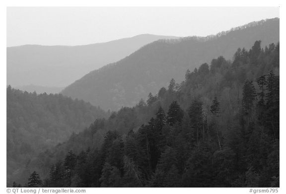 Ridges from Morton overlook, dusk, Tennessee. Great Smoky Mountains National Park (black and white)