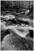 Boulders in confluence of rivers, Greenbrier, Tennessee. Great Smoky Mountains National Park, USA. (black and white)