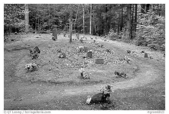 Pioneer Cemetery in forest clearing, Greenbrier, Tennessee. Great Smoky Mountains National Park (black and white)