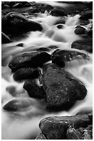 Stream flowing over mossy boulders, Roaring Fork, Tennessee. Great Smoky Mountains National Park ( black and white)