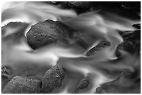 River flow and boulders covered with moss, Tennessee. Great Smoky Mountains National Park ( black and white)