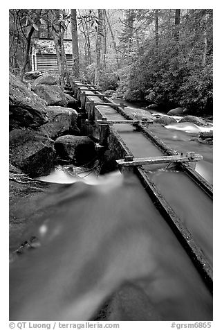 Flume to Reagan's Mill from Roaring Fork River, Tennessee. Great Smoky Mountains National Park (black and white)