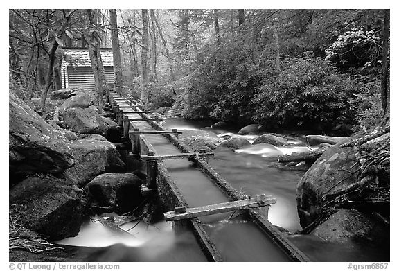 Flume carrying water to Reagan's mill next to Roaring Fork River, Tennessee. Great Smoky Mountains National Park (black and white)