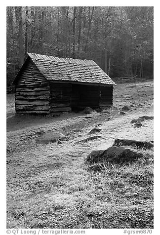 Cabin at Jim Bales place, early morning, Tennessee. Great Smoky Mountains National Park (black and white)