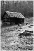 Cabin at Jim Bales place, early morning, Tennessee. Great Smoky Mountains National Park, USA. (black and white)