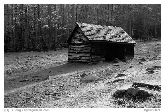 Jim Bales log Cabin in meadow, early morning, Tennessee. Great Smoky Mountains National Park (black and white)