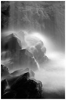 Misty water falling on dark rocks, Grotto falls, Tennessee. Great Smoky Mountains National Park ( black and white)