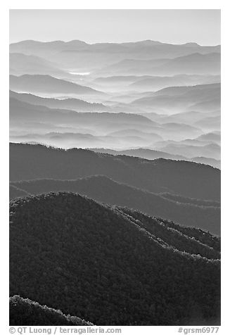 Hazy Ridges seen from Clingmans Dome, North Carolina. Great Smoky Mountains National Park (black and white)