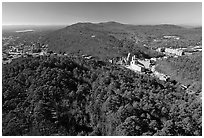 View of Hot Springs from the mountain tower in winter. Hot Springs National Park, Arkansas, USA. (black and white)