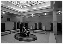 Mens bath hall, Fordyce bathhouse. Hot Springs National Park, Arkansas, USA. (black and white)