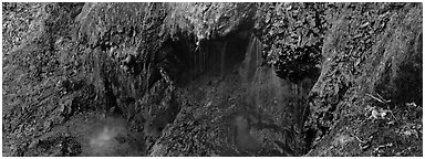 Cascade over tufa spring. Hot Springs National Park (Panoramic black and white)