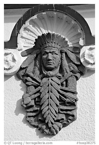 Bas relief depicting Indian chief on Quapaw Baths facade. Hot Springs National Park (black and white)