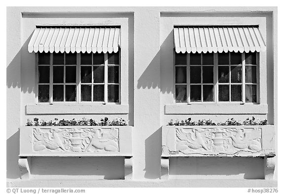 Windows and shades, Ozark Baths. Hot Springs National Park (black and white)