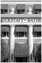 Blue shades, Buckstaff Baths. Hot Springs National Park, Arkansas, USA. (black and white)
