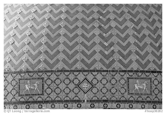 Detail of tiled dome of Quapaw Baths. Hot Springs National Park (black and white)