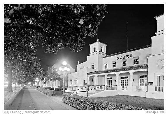 Ozark Baths and Bathhouse Row at night. Hot Springs National Park (black and white)