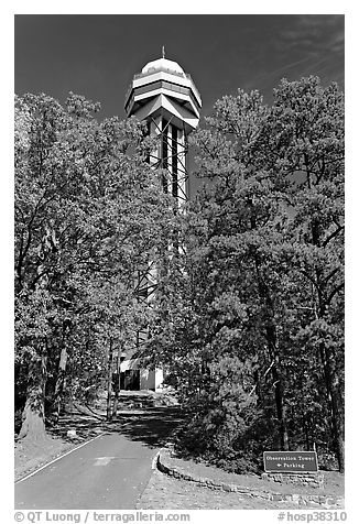 Hot Springs Mountain Tower in the fall. Hot Springs National Park (black and white)