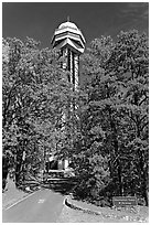 Hot Springs Mountain Tower in the fall. Hot Springs National Park, Arkansas, USA. (black and white)