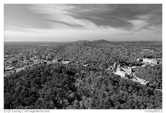 View over Hot Springs Mountain and West Mountain in the fall. Hot Springs National Park (black and white)