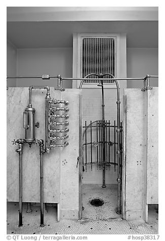 Bathing equipment, mens bath hall. Hot Springs National Park (black and white)